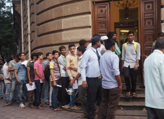 A queue of people stand outside a bank to exchange old notes in 2016 after the government announced the demonetisation scheme.
