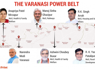 The graphic shows how five ministers in the Union Cabinet hail from around Varanasi