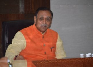 Vijay Rupani speaks during an interview on Gujarat elections in 2017