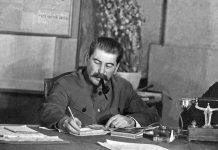 Stalin on his desk
