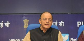 Arun Jaitley at a press conference on the Ease of Doing Business rankings