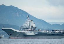 China's first aircraft carrier Liaoning aircraft carrier arrives on July 7, 2017 in Hong Kong.