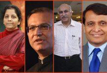 Collage of Nirmala Sitharaman, Jayant Sinha,M. J. Akbar, Suresh Prabhu