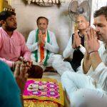 Rahul Gandhi at a temple in Gujarat