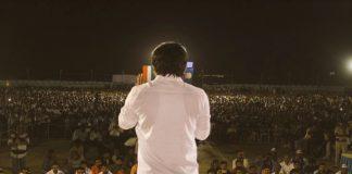 Hardik Patel addressing an audience.