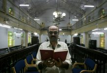 A member of the Jewish community in a synagogue in Mumbai