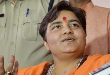 Sadhvi Pragya Singh Thakur addressing the media in Bhopal