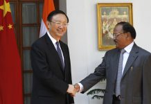 Chinese State Councilor Yang Jiechi with Indian National Security Advisor Ajit Dova