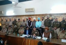 Punjab police top brass announcing Jaggi's arrest