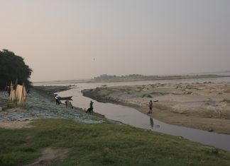 Animal hides used by tanneries being dried on the banks of Ganga