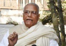 Yashwant Sinha talking to press