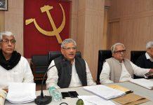Sitaram Yechury, Manik Sarkar, Biman Bose and Prakash Karat during CPI(M)'s central committee meeting in Kolkata