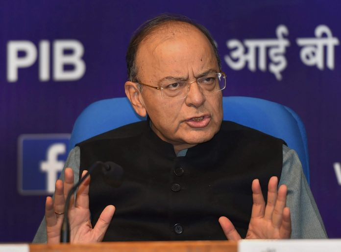 Union Finance Minister Arun Jaitley during a press conference
