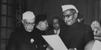 Rajendra Prasad swearing in new Prime Minister Jawaharlal Nehru as India becomes a republic, January 30th 1950