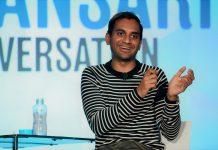 Aziz Ansari speaks onstage