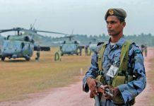 A Sri Lankan airman at a helicopter base.