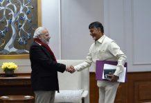 Prime Minister Narendra Modi shaking hands with Andhra Pradesh Chief Minister Chandrababu Naidu