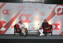 Vikram Seth (left) with ThePrint's editor-in-chief Shekhar Gupta (rght) at the Off The Cuff