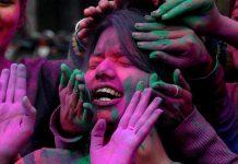 Students on Holi in Amritsar