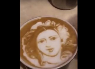 A lady's face designed on coffee