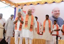 BJP President Amit Shah along with BS Yedyurappa