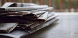A pile of newspapers.