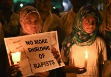 Girls during a candle light vigil against the brutal rape and murder of 8-year-old Kathua girl