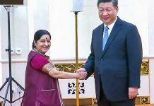 File photo of Sushma Swaraj with Chinese President Xi Jinping in Beijing   PTI