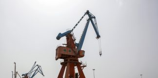 Gantry cranes stand at Gwadar Port in Gwadar, Balochistan, Pakistan for the 'One Belt, One Road' project