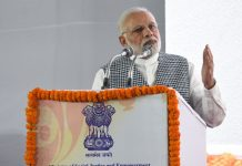 Prime Minister Narendra Modi at an event to inaugurate the B R Ambedkar memorial in Delhi