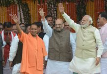 Amit Shah, Yogi Adityanath and Narendra Modi in Lucknow | Ashok Dutta/Hindustan Times via Getty Images