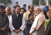 File photo of Narendra Modi, Sushma Swaraj, Rahul Gandhi and LK Advani at Parliament House on December 13, 2017 in New Delhi   Getty Images