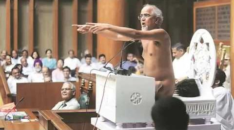 A naked Jain monk spoke in Haryana assembly, but a Muslim can't offer namaz in public?