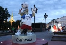 A sculpture of the Zavibaka mascot for the Russia World Cup sits on display in central Moscow, Russia | Bloomberg | Andrey Rudakov