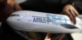 A model Airbus A330neo aircraft, produced by Airbus group