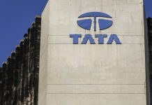 Signage for Tata Communications Ltd. is displayed atop of the company's headquarters