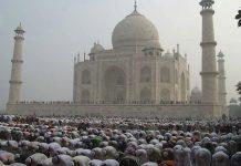 Eid al-Adha morning prayers in the Taj Mahal premises   STRDEL/AFP/Getty Images