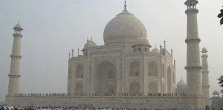 Eid al-Adha morning prayers in the Taj Mahal premises | STRDEL/AFP/Getty Images