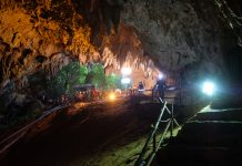Rescuers install a water pump inside Tham Luang Nang Non cave on June 28, in Thailand | Linh Pham/Getty Images