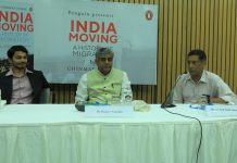 CEA Arvind Subramanian with MP Rajeev Gowda (center) and Chinmay Tumbe (left) | Manisha Mondal / ThePrint