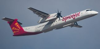 A SpiceJet aircraft in flight.