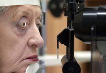 Caroline Tupcienko, during an experimental ocular implant procedure in Australia