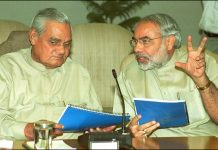 File photo of Prime Minister Atal Bihari Vajpayee having a discussion with then Gujarat CM Narendra Modi | Arvind Yadav /Hindustan Times via Getty Images