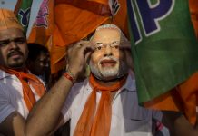 A supporter of the Bharatiya Janata Party in Vadodra | Kevin Frayer/Getty Images