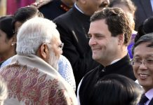 Prime Minister Narendra Modi with Congress president Rahul Gandhi | Sonu Mehta/Hindustan Times via Getty Images