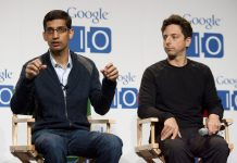 Sundar Pichai and Sergey Brin