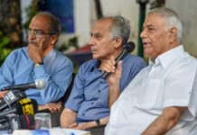 Former union ministers Arun Shourie and Yashwant Sinha with lawyer Prashant Bhushan at a press conference | PTI/Subhav Shukla