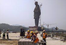Construction work in progress of the Statue of Unity, dedicated to Sardar Vallabhbhai Patel | PTI