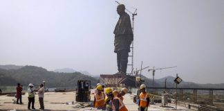 Construction work in progress of the Statue of Unity, dedicated to Sardar Vallabhbhai Patel | PTI