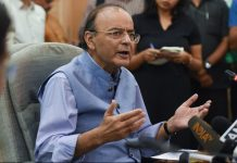 Union Finance Minister Arun Jaitley addresses the media in New Delhi